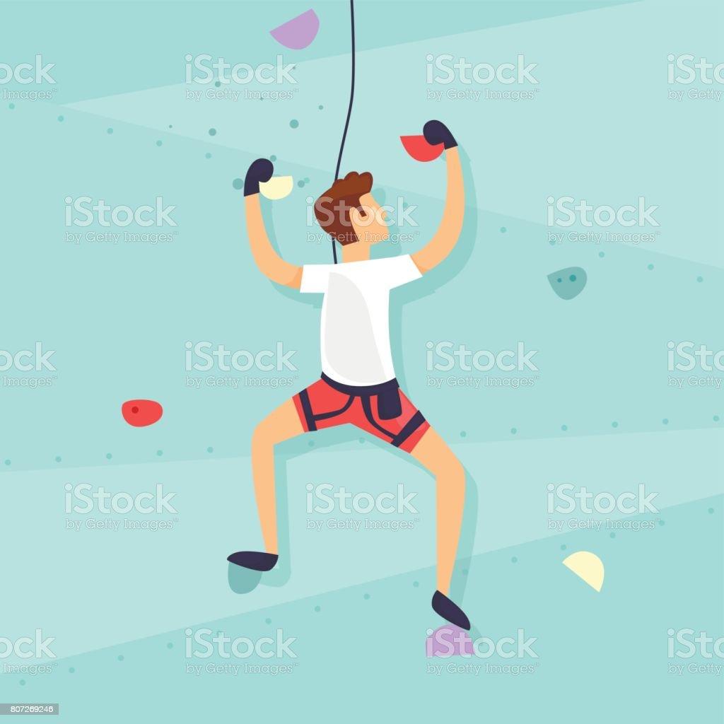 Climbing Wall. Guy is climbing the wall. Flat design vector illustration. - illustrazione arte vettoriale