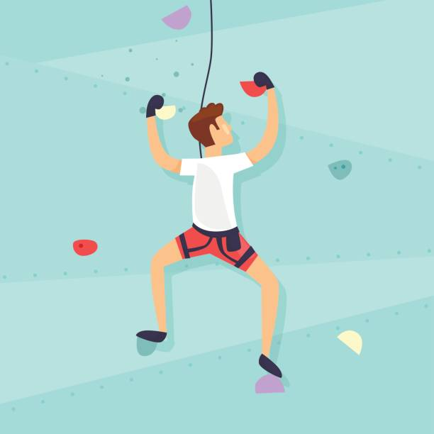 壁を登る。男は壁を登っています。フラットなデザインのベクトル図です。 - ロッククライミング点のイラスト素材/クリップアート素材/マンガ素材/アイコン素材