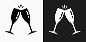 Cling Glasses Icon on Black and White Vector Backgrounds. This vector illustration includes two variations of the icon one in black on a light background on the left and another version in white on a dark background positioned on the right. The vector icon is simple yet elegant and can be used in a variety of ways including website or mobile application icon. This royalty free image is 100% vector based and all design elements can be scaled to any size.