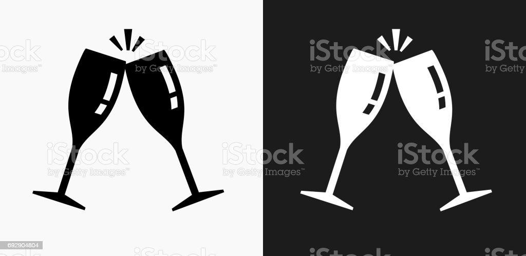 Icône de verres s'accrochent sur des arrière-plans de Vector noir et blanc - Illustration vectorielle