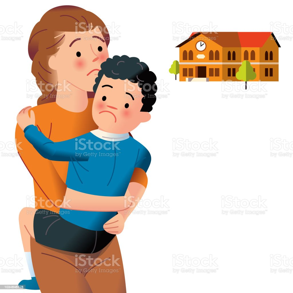 Clingy child afraid of school. vector art illustration