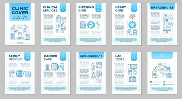 ilustrações, clipart, desenhos animados e ícones de layout do modelo de brochura clínica - ortopedia