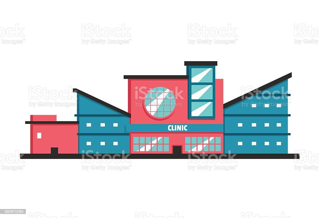 Clinic building. Flat vector illustration. Constructivism style vector art illustration