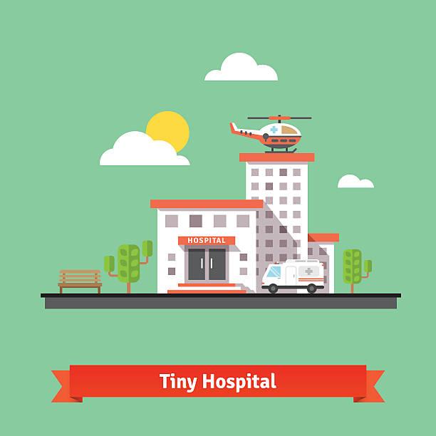 Clinic Gebäude mit Krankenwagen Hubschrauber und Auto – Vektorgrafik