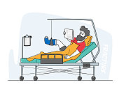 istock Clinic Chamber with Bandaged Male Character Lying on Bed with Bounded Broken Leg after Car Accident, Injured Patient 1280889804