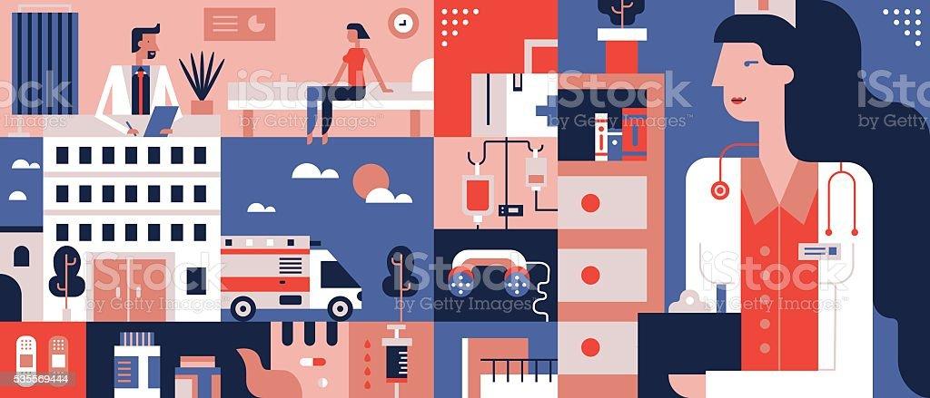 Clinic flat background vector art illustration