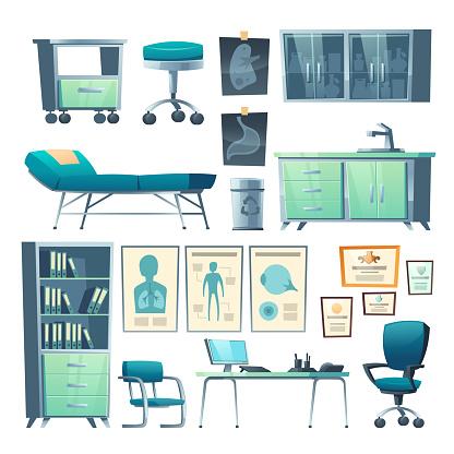 Clinic interior doctor stuff isolated hospital set