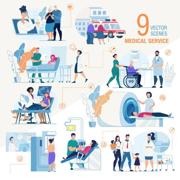 Clinic Medical Services Flat Vector Scenes Set Modern Clinic Medical Services Trendy Flat Vector Scenes Set. Doctor Screening Pregnant Woman, Lady Visiting Dentist, Nurse Transporting Senior Man on Wheelchair, Doctor Consulting Family Illustration dentist stock illustrations