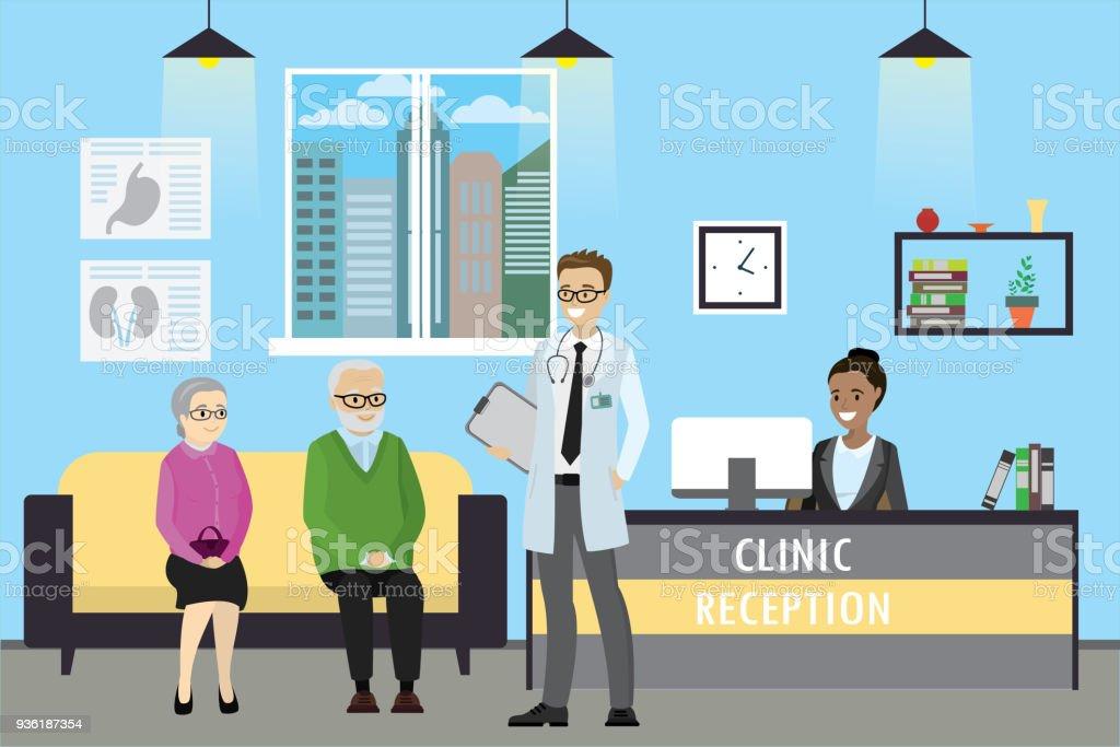 Recepción de la clínica, doctor y viejos pacientes caucásicos - ilustración de arte vectorial