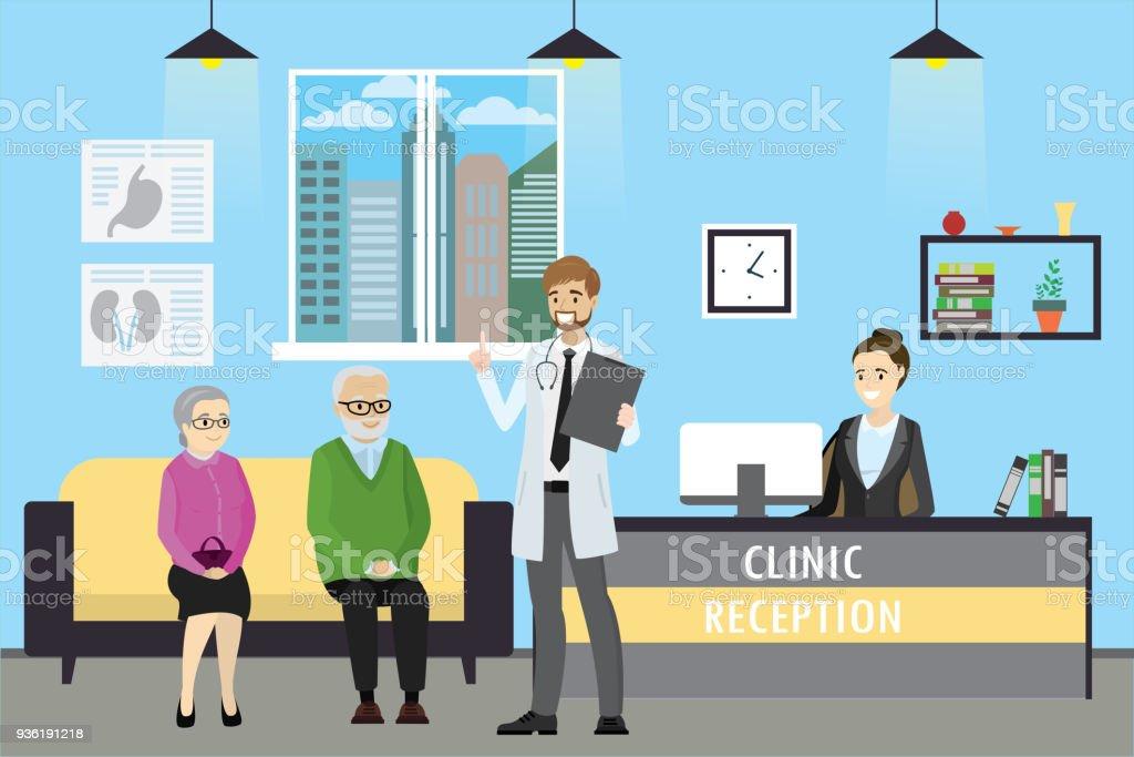 Klinik-Rezeption, Arzt und alten kaukasischen Patienten – Vektorgrafik