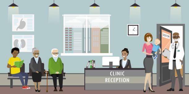 ilustraciones, imágenes clip art, dibujos animados e iconos de stock de recepción de la clínica, médico y pacientes de mujer - geriatría
