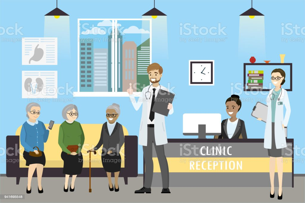 Recepción de la clínica, médico y mujer pacientes, americano africano - ilustración de arte vectorial