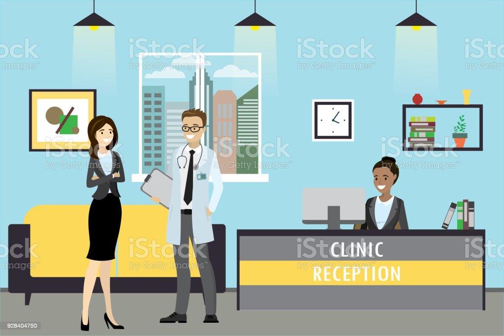 Recepción de la clínica, doctor y paciente está de pie, administrador - ilustración de arte vectorial