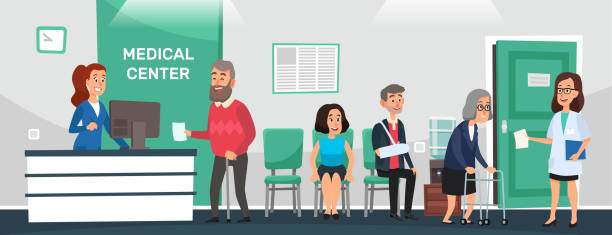 clinic reception. hospital patients, doctor waiting room and people wait doctors medical care cartoon vector illustration - receptionist stock illustrations, clip art, cartoons, & icons