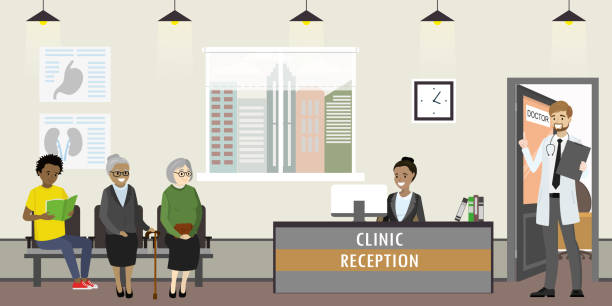 klinik-rezeption-interieur mit möbeln, - rezeptionseingang stock-grafiken, -clipart, -cartoons und -symbole