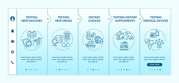 Clinical investigation types onboarding vector template