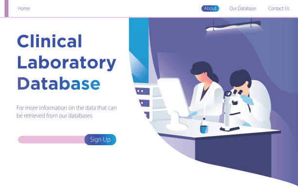 Clinical laboratory database concept with people doing research and study. Landing modern page template vector illustration. - Vector Clinical laboratory database concept with people doing research and study. Landing modern page template vector illustration. - Vector medical research stock illustrations