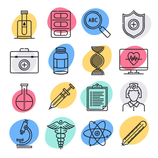 Clinical Laboratory & Epidemiology Doodle Style Vector Icon Set Clinical laboratory and epidemiology doodle style concept outline symbols. Line vector icon sets for infographics and web designs. genomics stock illustrations