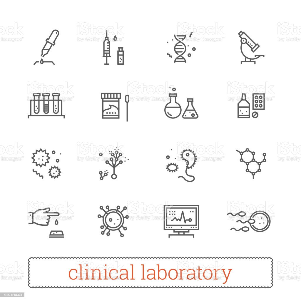 Clinical laboratory, medicine science thin line vector icons. royalty-free clinical laboratory medicine science thin line vector icons stock illustration - download image now