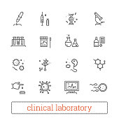 Clinical laboratory, medicine science thin line vector icons.
