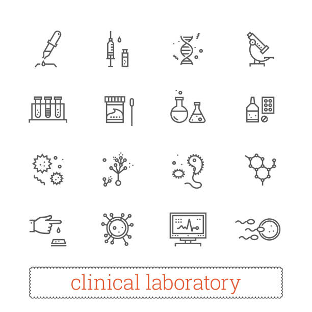 Clinical laboratory, medicine science thin line vector icons. Clinical laboratory thin line icons: medicine science, virology study, microbiology assay, immune system analysis, genetics, diagnostic equipment, medical tools. Modern vector design elements. genetic research stock illustrations