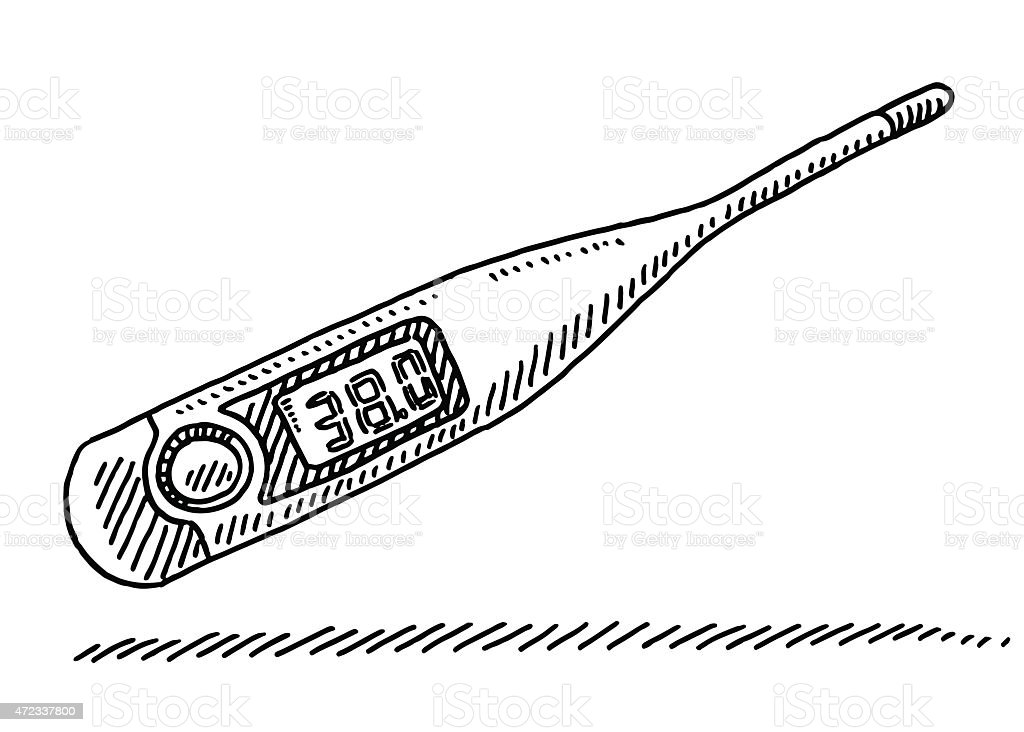 clinical thermometer fever measurement drawing stock