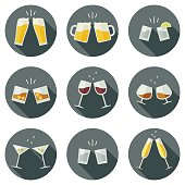 Clink glasses icons.