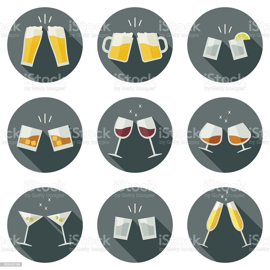 Tintinnio occhiali icone. - illustrazione arte vettoriale