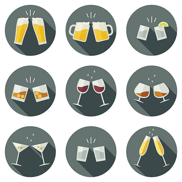 clink glasses icons. - alcohol drink icons stock illustrations
