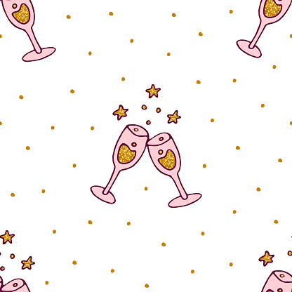 Clinking champagne glasses pattern.cheers glasses pattern. Kid's champagne pattern. two glasses clink pattern. Background for gift paper,wrapping,postcard, package ,wrapping paper,fabric,wallpaper.