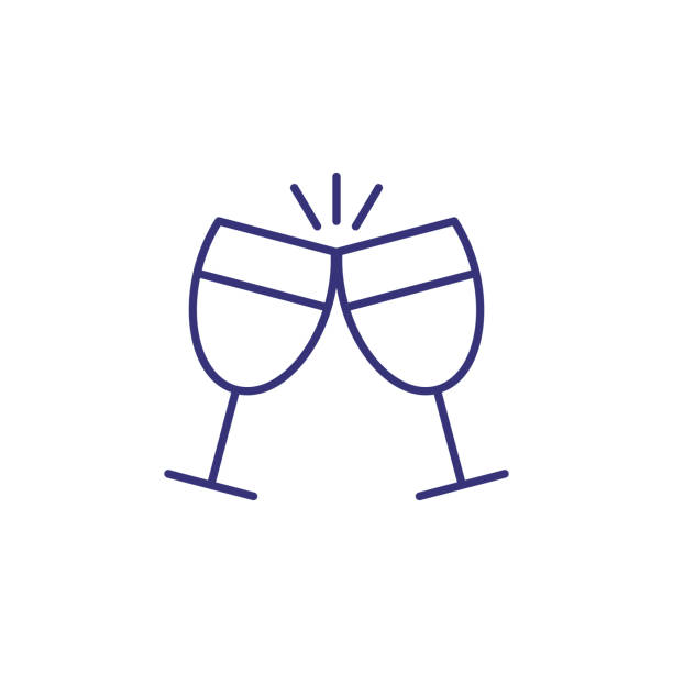 illustrazioni stock, clip art, cartoni animati e icone di tendenza di clinking glasses line icon - aperitivo