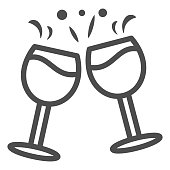 istock Clinking glasses with wine line icon, Wine festival concept, Celebration toast sign on white background, Glasses of champagne with splash icon in outline style for mobile. Vector graphics. 1281369259