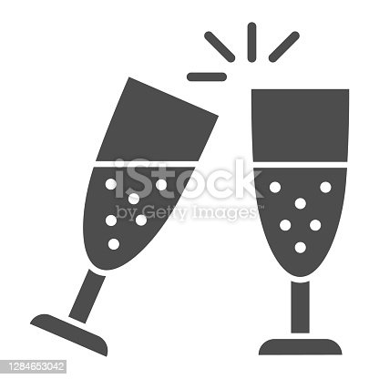 Clinking of champagne glasses solid icon, New Year concept, sparkling champagne glasses sign on white background, clink wineglasses icon in glyph style for mobile and web. Vector graphics