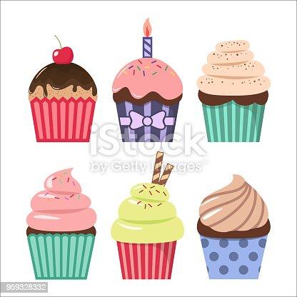 Clip Art Cartoon Cupcake Set Colorful Cupcakes Clipart ... Cartoon Cupcakes Clipart