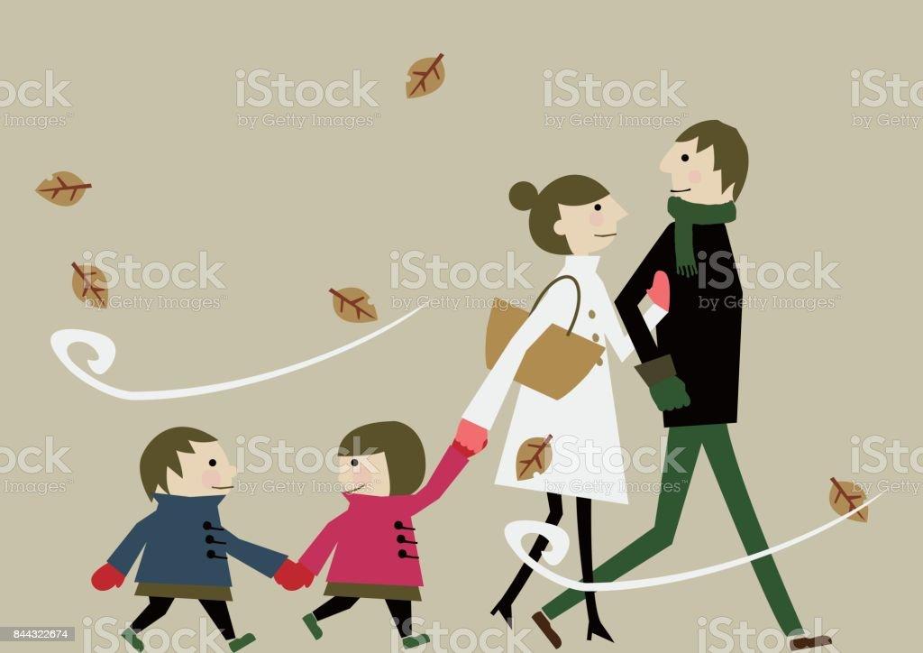 Clip arte familia en invierno - ilustración de arte vectorial