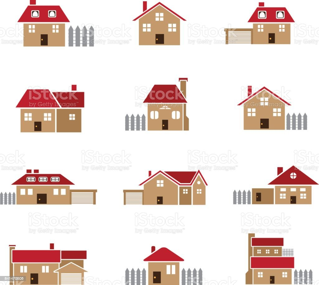 clipart haus vektor icon set farbe isoliert st dtische und. Black Bedroom Furniture Sets. Home Design Ideas