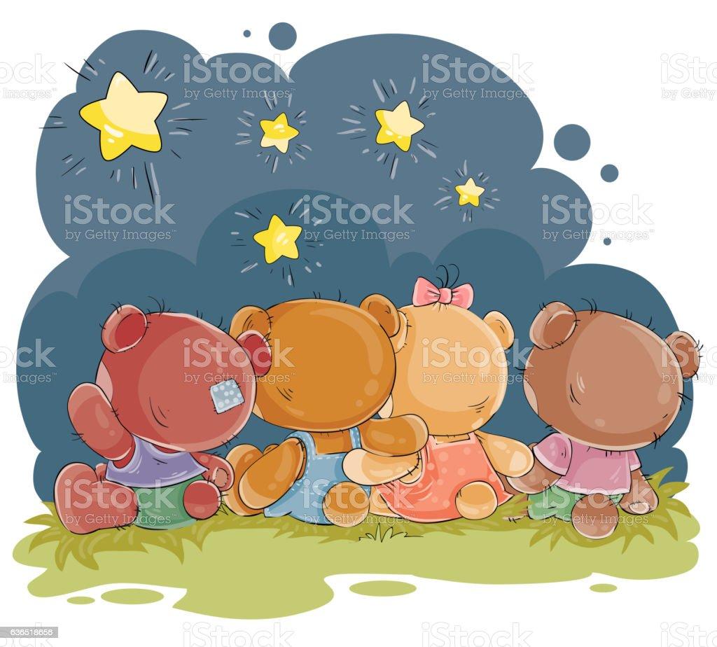 Clip art illustration for greeting card with teddy bears - ilustração de arte vetorial