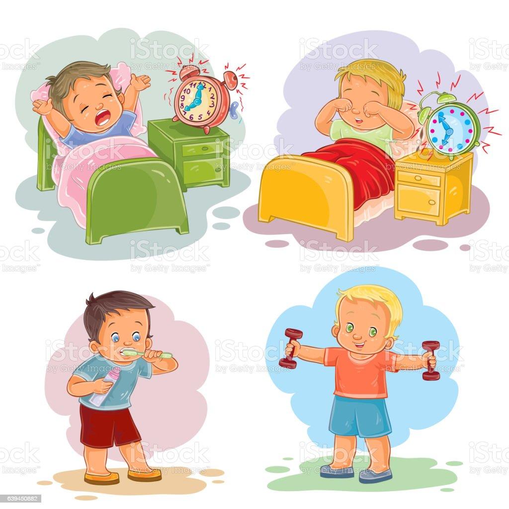 clip art illustrations of little children wake up in the