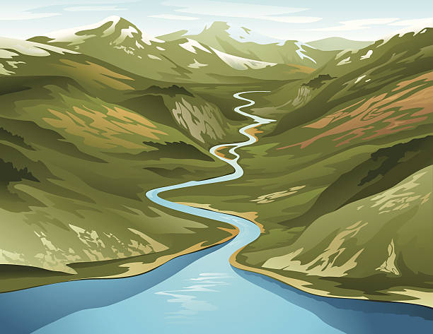 stockillustraties, clipart, cartoons en iconen met a clip art of a river circling its way around a mountain - rivier