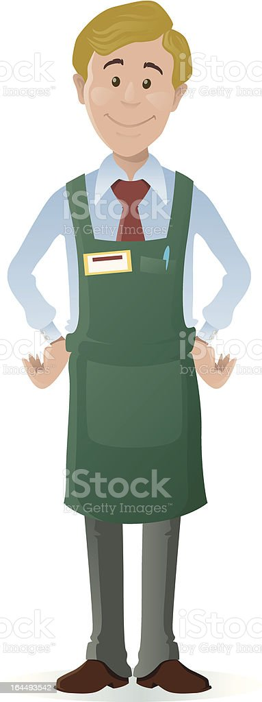 Clip art of a young male shopkeeper in a green apron - Royalty-free Adult stock vector
