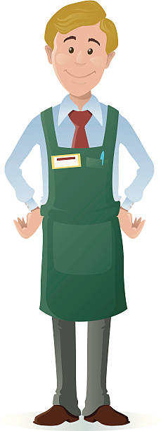 Clip art of a young male shopkeeper in a green apron vector art illustration