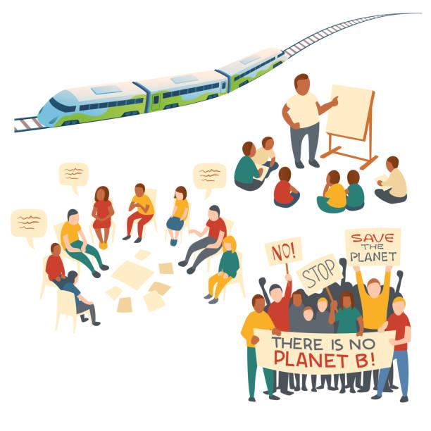 ilustrações de stock, clip art, desenhos animados e ícones de clip art of eco transport and protest action - teacher school solo