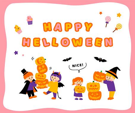 clip art of halloween and children in costume set