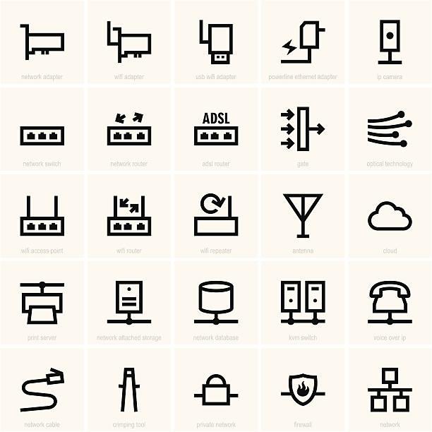 netzwerk-symbol - schalter stock-grafiken, -clipart, -cartoons und -symbole