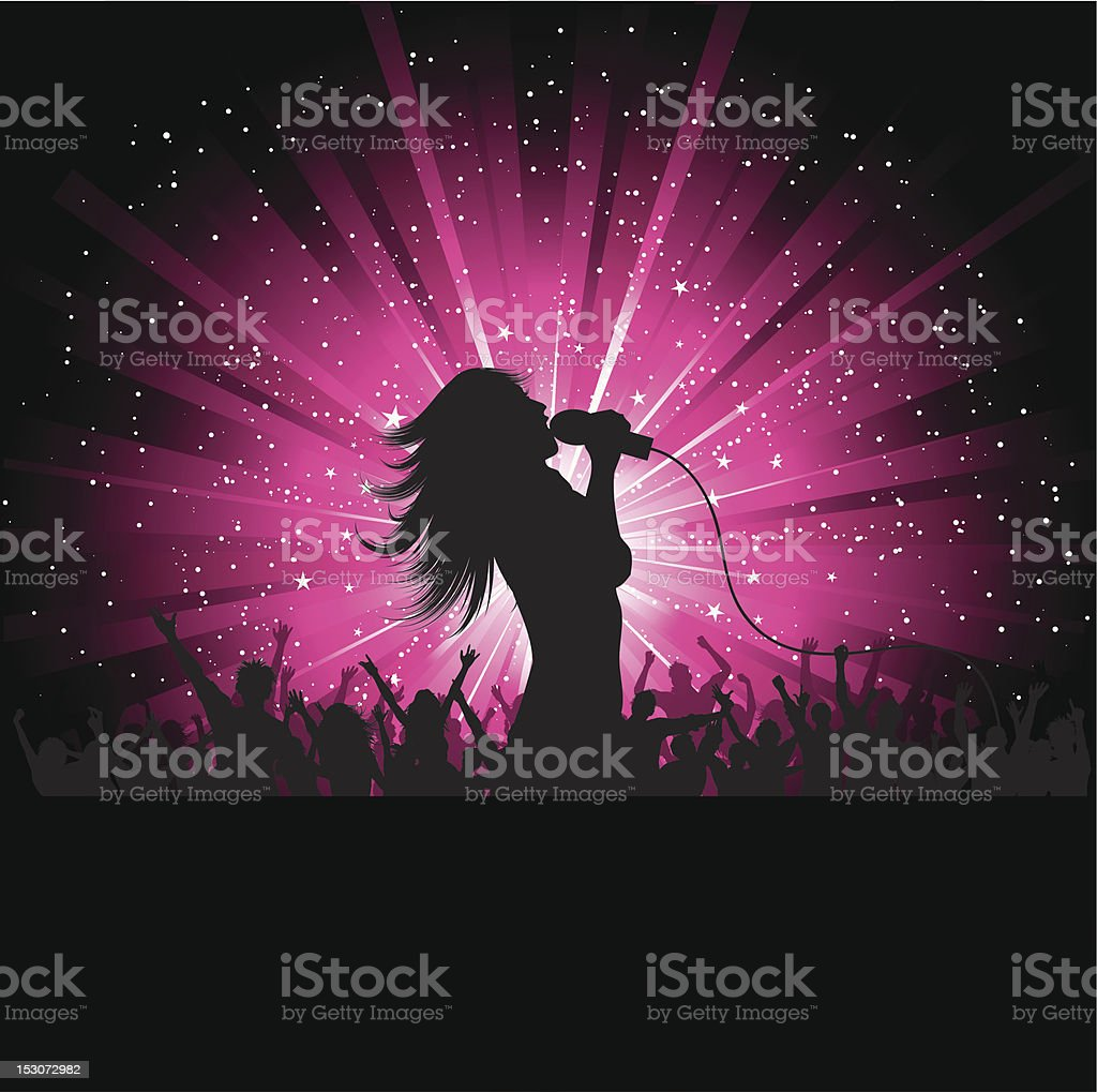 Clip art of silhouetted female singer vector art illustration