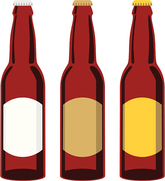 stockillustraties, clipart, cartoons en iconen met clip art of three brown beer bottles with different labels - bierfles