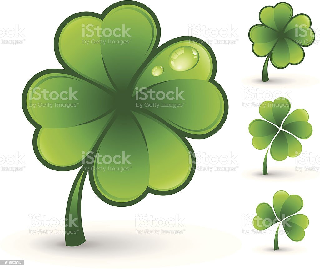 Clip art of various Glenn four leaf clovers vector art illustration