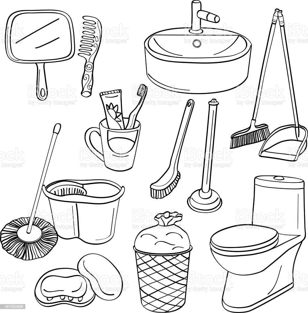 Clip art vector images of bathroom elements vector art illustration