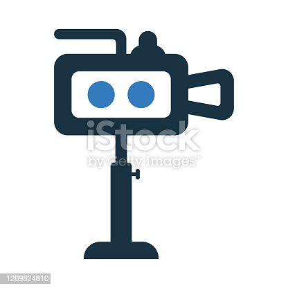 istock Clip, film, video icon. Glyph vector isolated on a white background 1269824810