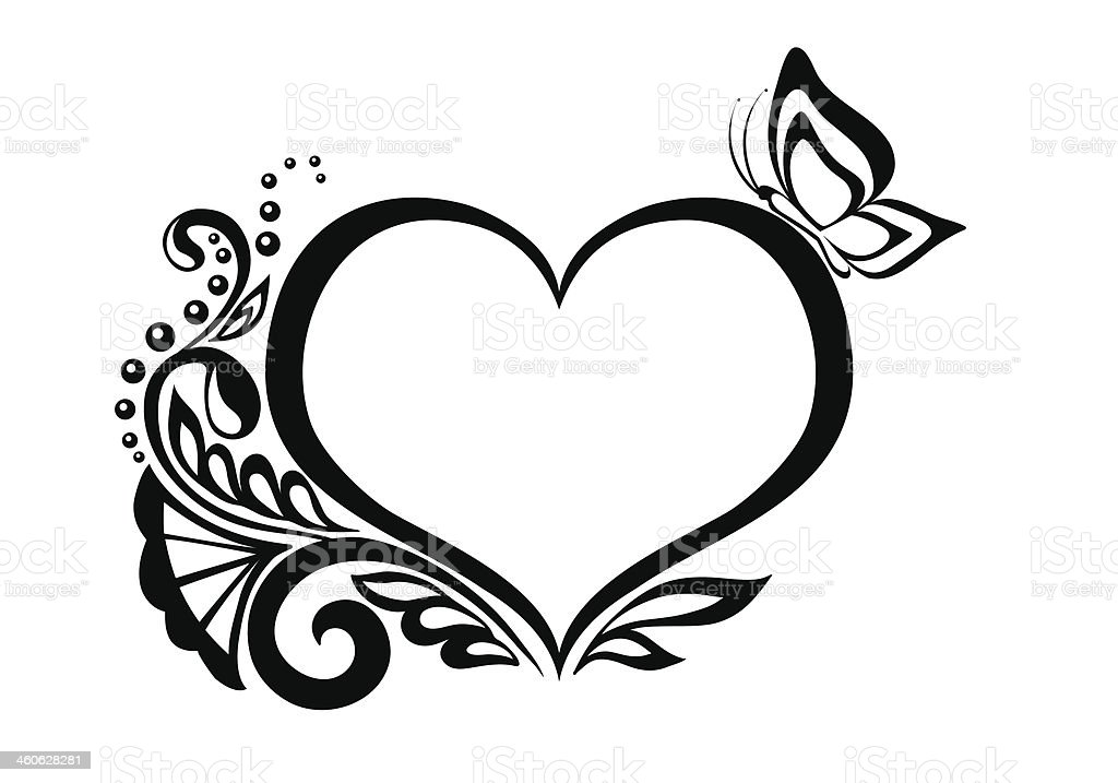 Clipart Bw Heart With Floral And Butterfly Design Stock